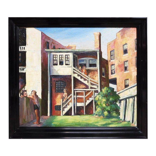 Original American Urban Scene Oil Painting by Thaddeus J. Haduch, 1947 For Sale