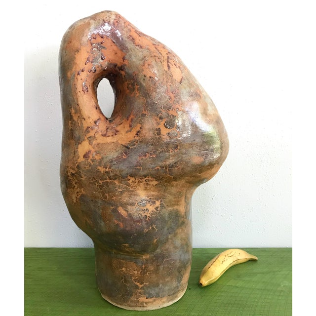 Copper Large Biomorphic Ceramic Sculpture Studio Pottery by Marylin Woods For Sale - Image 8 of 8
