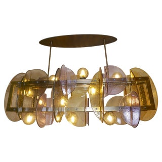 Contemporary Italian Amber & Amethyst Murano Glass Gold Bronze Finish Chandelier For Sale