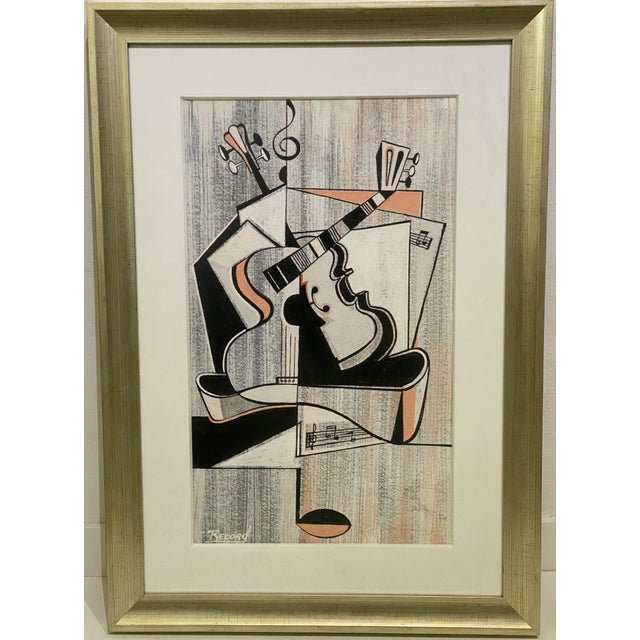 Mid-Century Modern Cubist Pastels Painting of Guitar For Sale - Image 13 of 13