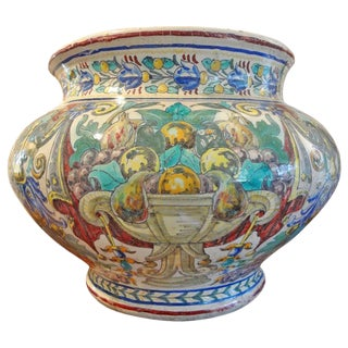 19th Century Italian Majolica Jardiniere For Sale