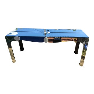 Abstract Modern Blue Beveled Mirror Console For Sale