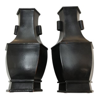 Black Chinese Vases - a Pair For Sale