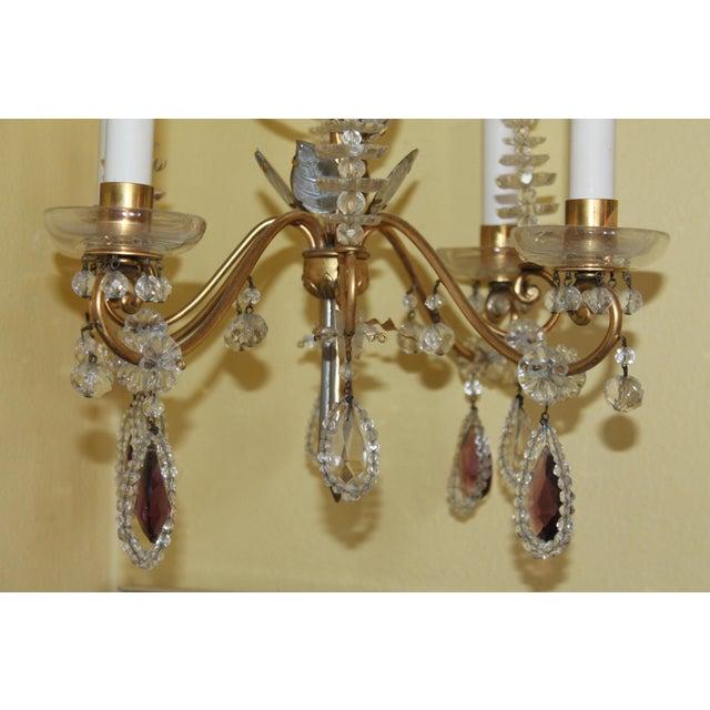 C1940s Hollywood Regency Maison Bagues Dore Bronze & Crystal Chandelier For Sale - Image 11 of 13