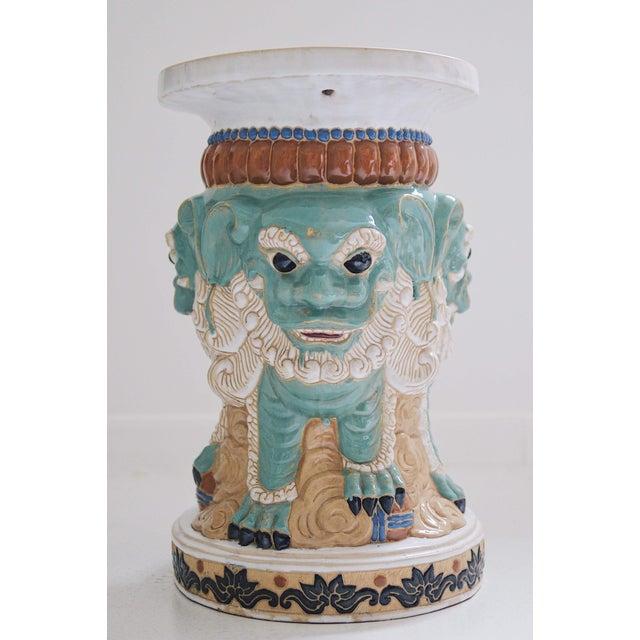 Ceramic 1960s Ceramic Three Sided Foo Dog Garden Stool For Sale - Image 7 of 7