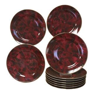 Nikki Bordeaux Red Marbled Salad Dessert Plates Set of 10 For Sale