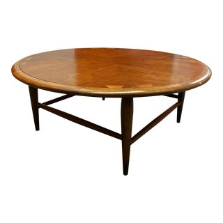 Lane Round Walnut Coffee Table For Sale