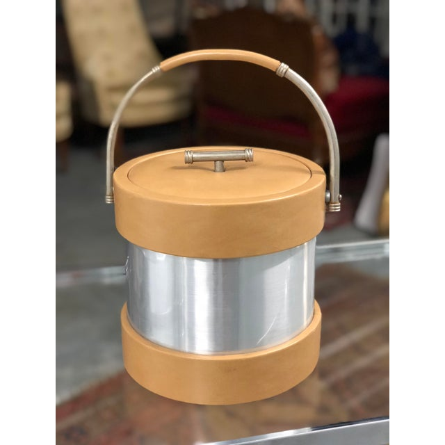 Metal Vintage Vinyl and Chrome Ice Bucket For Sale - Image 7 of 7
