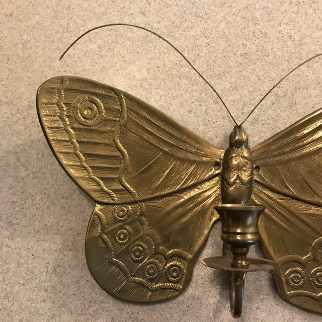 Brass 1970s Boho Chic Brass Butterfly Wall Candle Holder For Sale - Image 7 of 13
