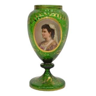 19th Century Bohemian Parcel Gilt Art Glass Portrait Vase For Sale