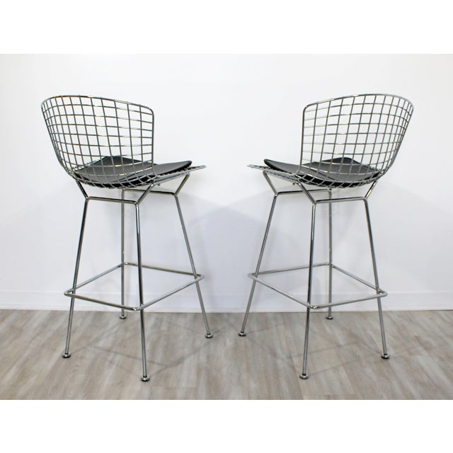 2000 - 2009 Modernist Chrome and Black Vinyl High Bar Stools by Bertoia for Knoll - a Pair For Sale - Image 5 of 8