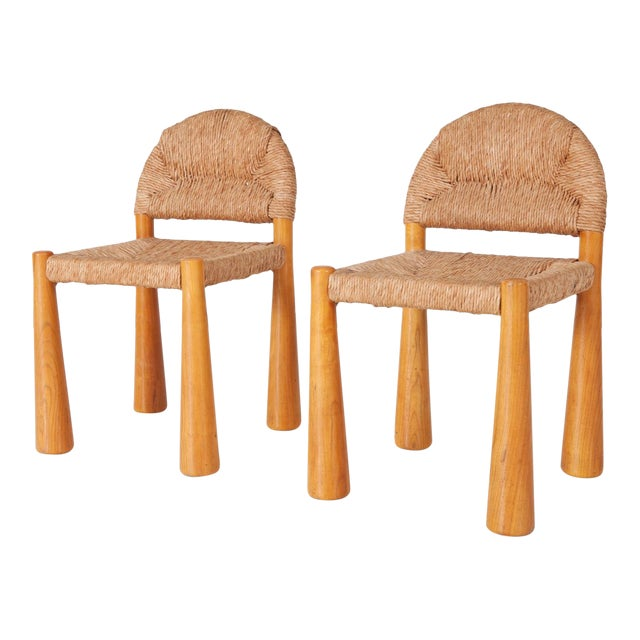 Wicker & Solid Pine Toscanolla Chairs by Alessandro Becchi for Giovanetti For Sale