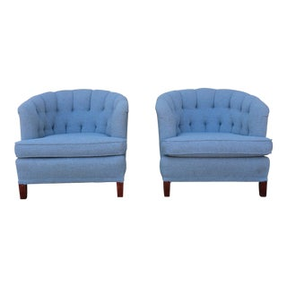 1990s VintageTufted Barrel Chairs- A Pair For Sale