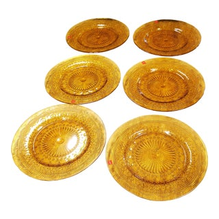 Provenzale Amber Glass Plates - Set of 6 For Sale