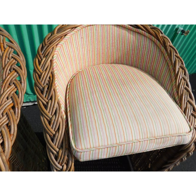 Boho Chic Wicker Stools - A Pair - Image 7 of 9