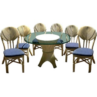 Hollywood Regency Tropical Leaf Rattan Dining Set