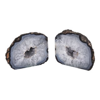 1990s Boho Chic Elegant Quartz Geode Bookends - a Pair