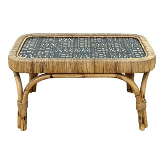 1950s French Rattan Coffee Table For Sale