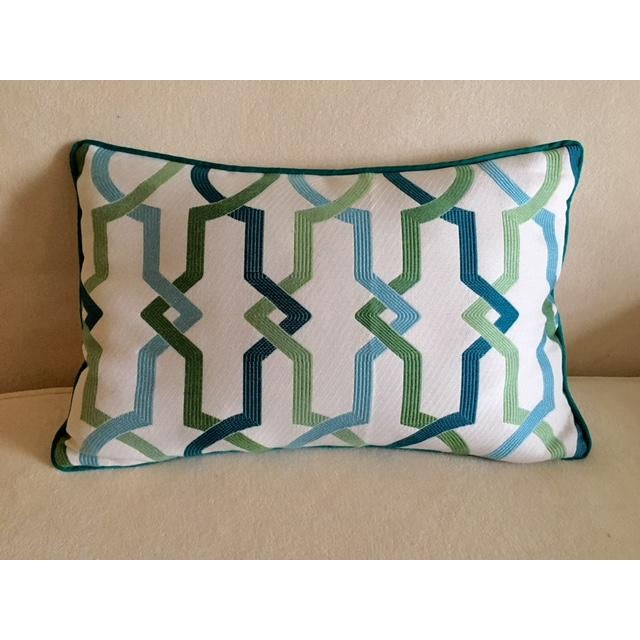 Custom Turquoise Mod Geometric Kidney Pillow - Image 3 of 6