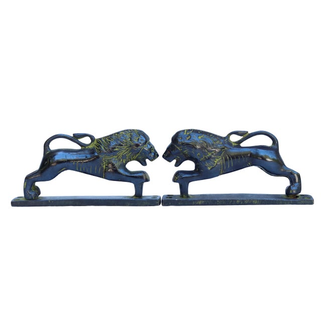 Green Brass Lion Door Handles - a Pair For Sale In Boston - Image 6 of 6