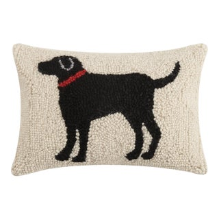 "Black Dog Hook Pillow, 8"" x 12"" For Sale"