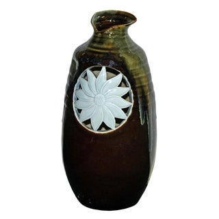 Modern Handmade Artistic Odd Shape Multi Brown Gloss Grace Vase With Sun Flower Graphic For Sale