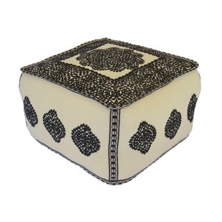 Moroccan Embroidered Cotton Pouf For Sale