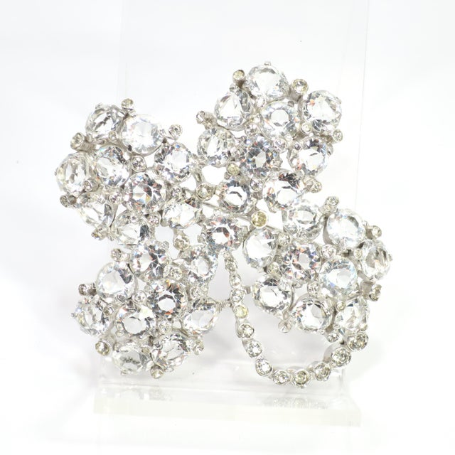Reja Rhodium & Sterling Cut Crystal Four Leaf Clover Brooch, 1940s For Sale - Image 12 of 12