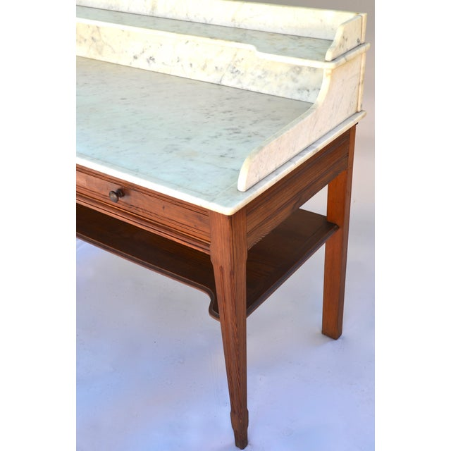 Antique Marble-Top Washstand/Table With Cedar Wood Base For Sale - Image 4 of 10