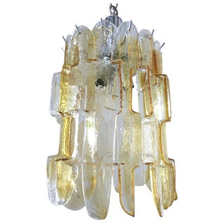Geometric Chandelier With Amber Infused Murano by Mazzega For Sale