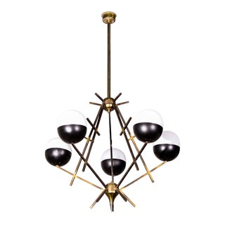 Stilnovo Pendant light with Lacquered Brass Structure and Five Opaline Diffusers