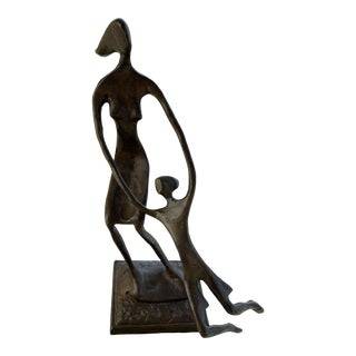 Bronze Mother and Child Sculpture For Sale