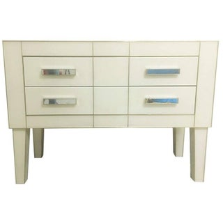 White Cream Mirrored Glass Commode / Chest of Drawers