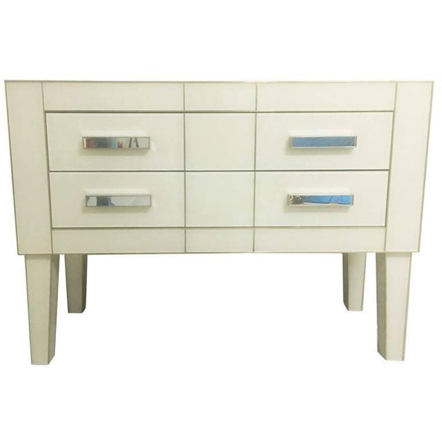 White Cream Mirrored Glass Commode / Chest of Drawers For Sale
