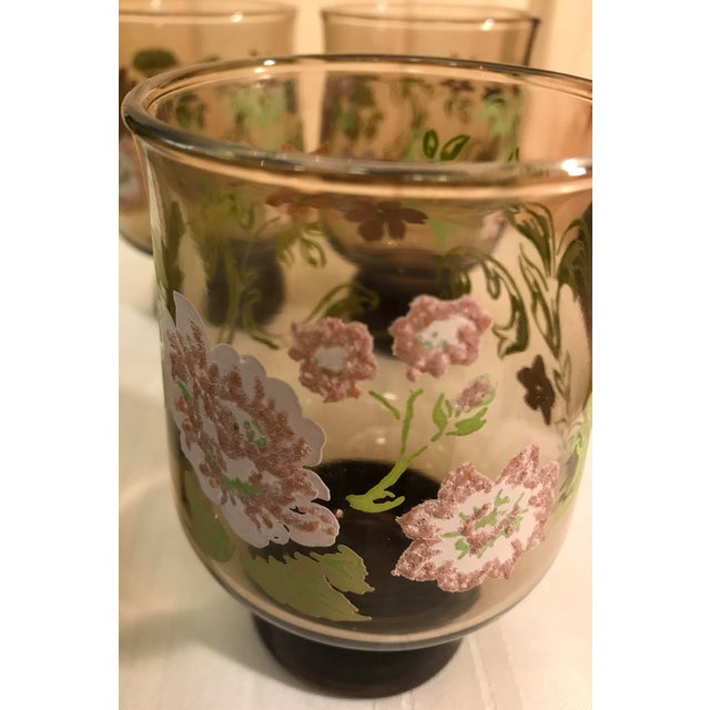 Mid-Century Modern Smoked Glasses With Embossed Design - Set of 5 For Sale - Image 10 of 11