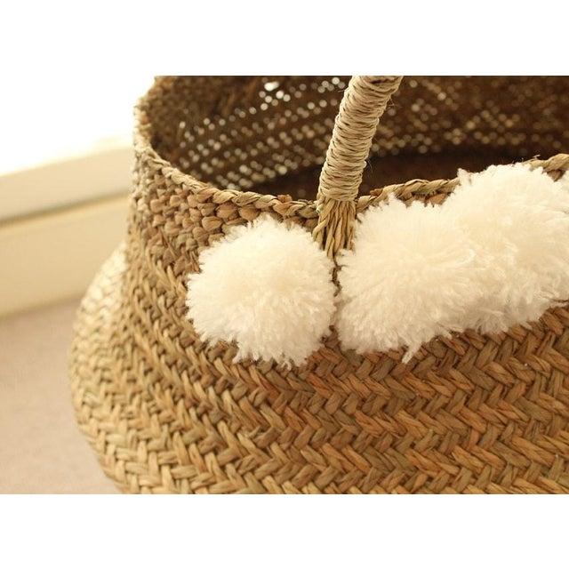 Sea Grass & White Pom Pom Basket - Image 3 of 9