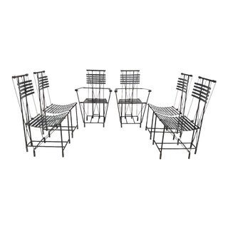Ilana Goor Styled Wrought Iron Dining Chairs - Set of 6 For Sale