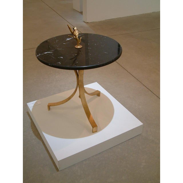 1998 Contemporary Forged and Gilt Gold Steel and Black Marble Occasional Table by Maurice Beane Studios For Sale In Richmond - Image 6 of 8