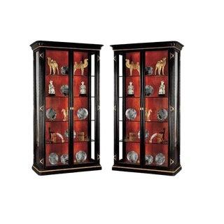 Pair of Erika Brunson for Randolph & Hein Black & Gold Vitrine Showcase Cabinet W Red Interior For Sale