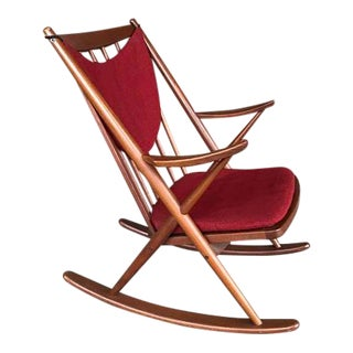 1960s Mid-Century Modern Bramin Mobler Red Upholstered Teak Rocker For Sale