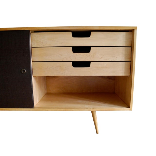 20th Century Modern Maple Storage Credenza / Sideboard With Shelf and Drawers by Paul McCobb For Sale - Image 9 of 13