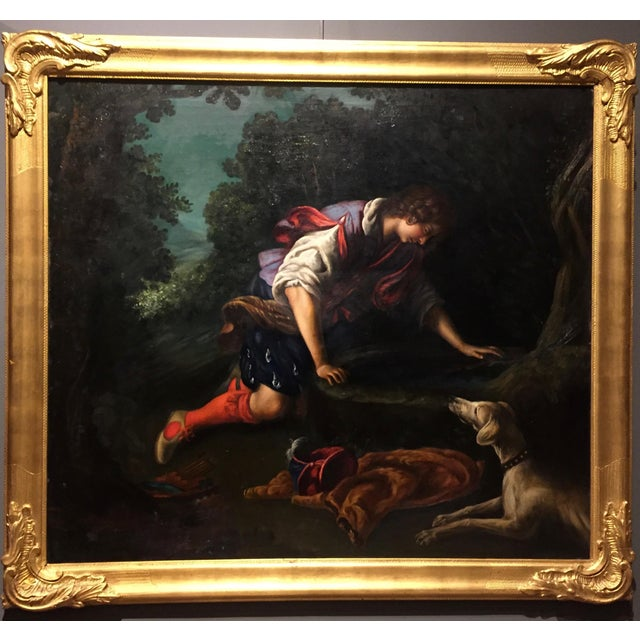 """1876 Painting by Bianchini, after Francesco Curradi, """"Narcissus at the Fountain"""" For Sale - Image 9 of 9"""