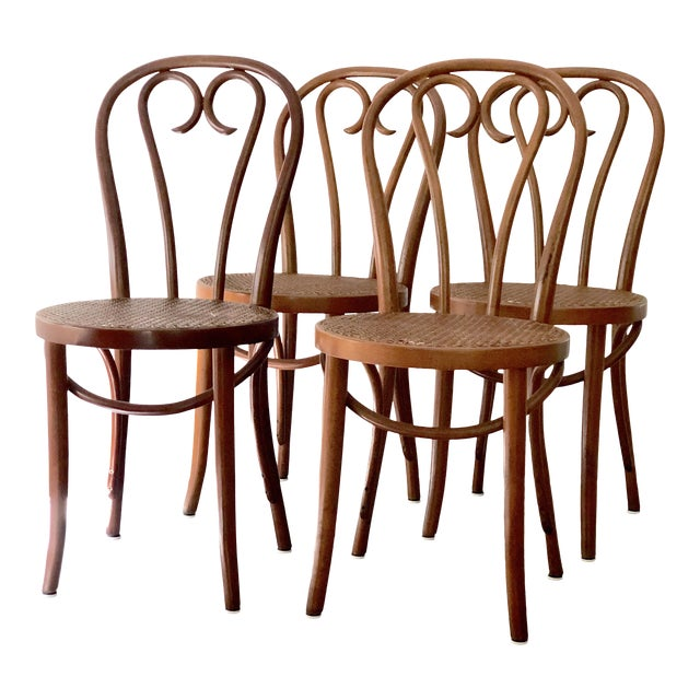 Vintage Thonet Sweetheart Bentwood Cane Bistro Cafe Chairs--Set of 4 For Sale