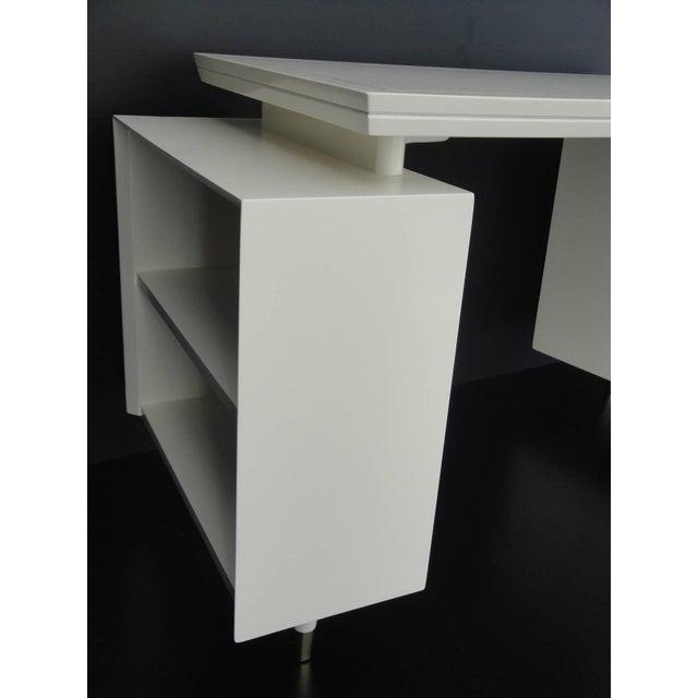 1960s Mid Century Modernist Floating Top Curved Partner Desk For Sale - Image 9 of 11