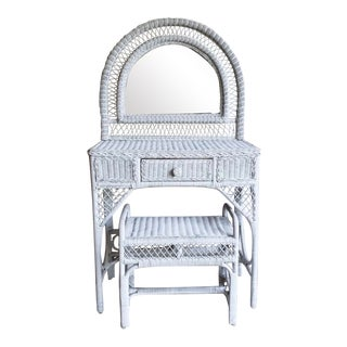 Shabby Chic White Wicker Vanity with Stool - 2 Pieces For Sale