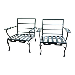Vintage Mid-Century Russell Woodard Salterini Wrought Iron Chairs - a Pair For Sale