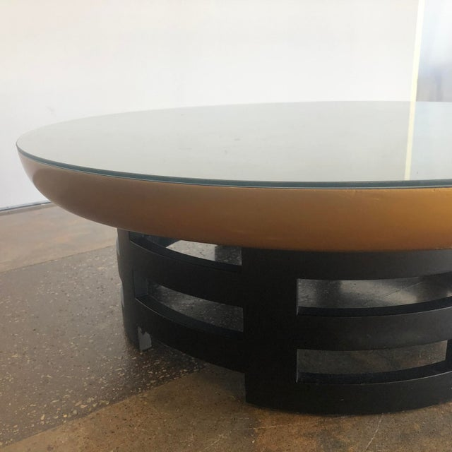 Asian Asian Theodore Muller Lotus Coffee Table for Kittinger With Glass Top For Sale - Image 3 of 7
