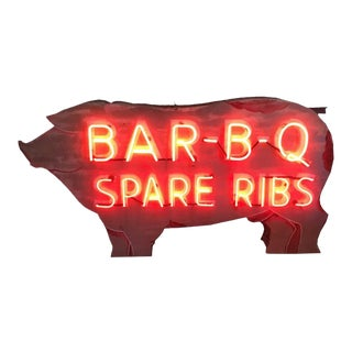 Bar - B - Q Neon Pig Sign With Original Paint For Sale