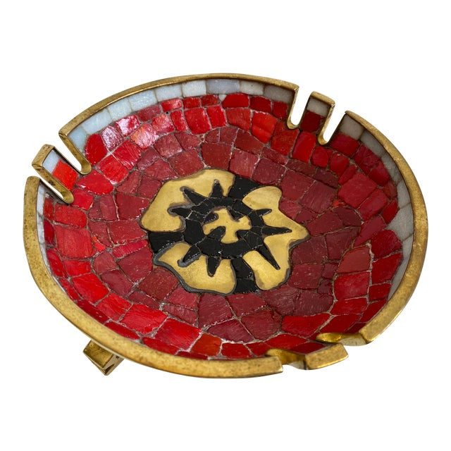 Salvador Teran Brass and Glass Decorative Bowl For Sale