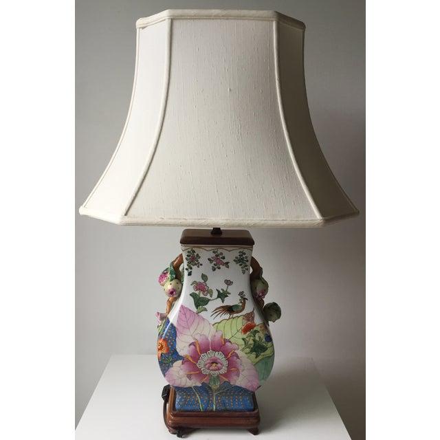 Vintage Porcelain Tobacco Leaf Lamp For Sale - Image 4 of 11